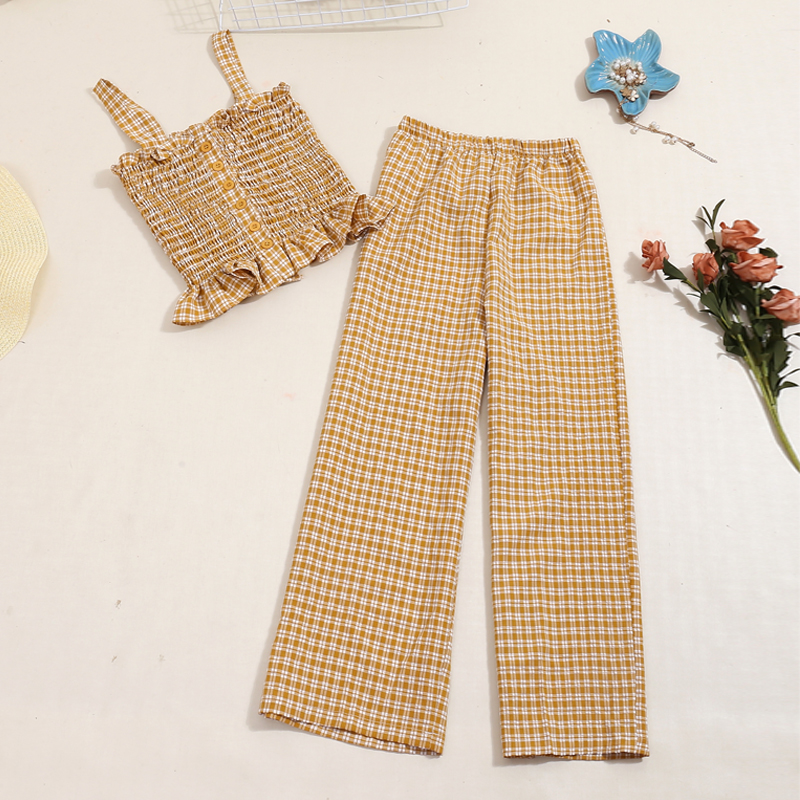 New Summer Beach Plaid Two Piece Set 2020 Fashion Women Spaghetti Crop Tops And Pants Outfit Female Ruffles Tracksuit Clothes