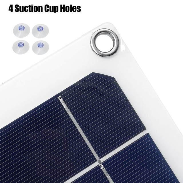100W 18V USB Mono Solar Panel 12V/5V Monocrystalline Flexible Solar Charger for Car RV Boat Battery Charger Waterproof 53x29cm 5