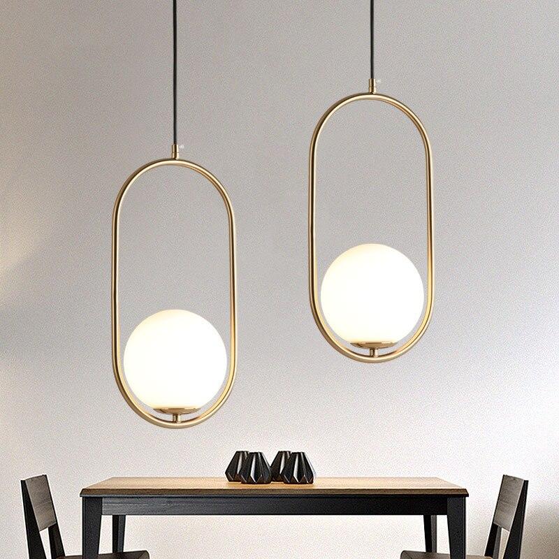 Nordic Glass Ball Pendant Lights Dining Room Kicthen Post-modern Bar Front Desk Simple Gold Tube Bedroom Bedside Hanging Lamp