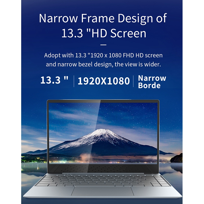 Jumper EZbook X3 PRO 13.3 Inch IPS Laptop Thin Metal Body Inter N4100 8GB LPDDR4 <font><b>180GB</b></font> <font><b>SSD</b></font> 2.4G/5G WiFi Notebook EU Plug image