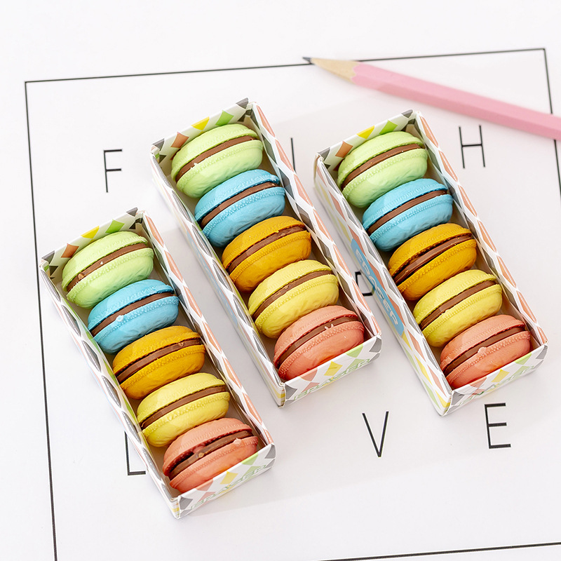 5 Pcs/pack Macaron Color Sandwich Biscuit Eraser Rubber Eraser Primary Student Prizes Promotional Gift Stationery