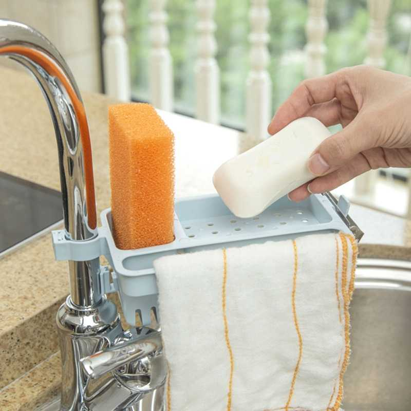 1PC Kunststoff Küche Waschbecken Schwamm Lagerung Rack Gericht Ablauf Seife Pinsel Organizer Handtuch Rack Halter Küche Bad Zubehör