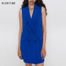 Женский элегантный синий Длинный блейзер жилет пальто сексуальный v-образный вырез без рукавов жилет Офисная Женская Верхняя одежда куртка Женский Chaleco Muje