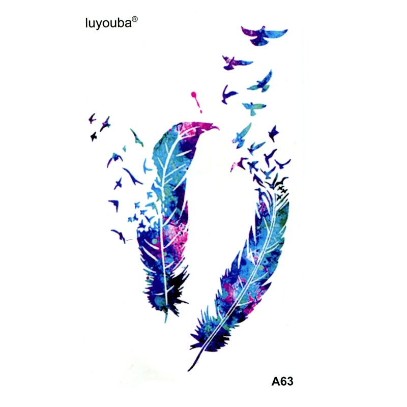 Feather Swallow Waterproof Temporary Tattoo Men Beauty Tatuagem Henna Tattoo Tatuajes  Tatoo Flash Kids Stickers