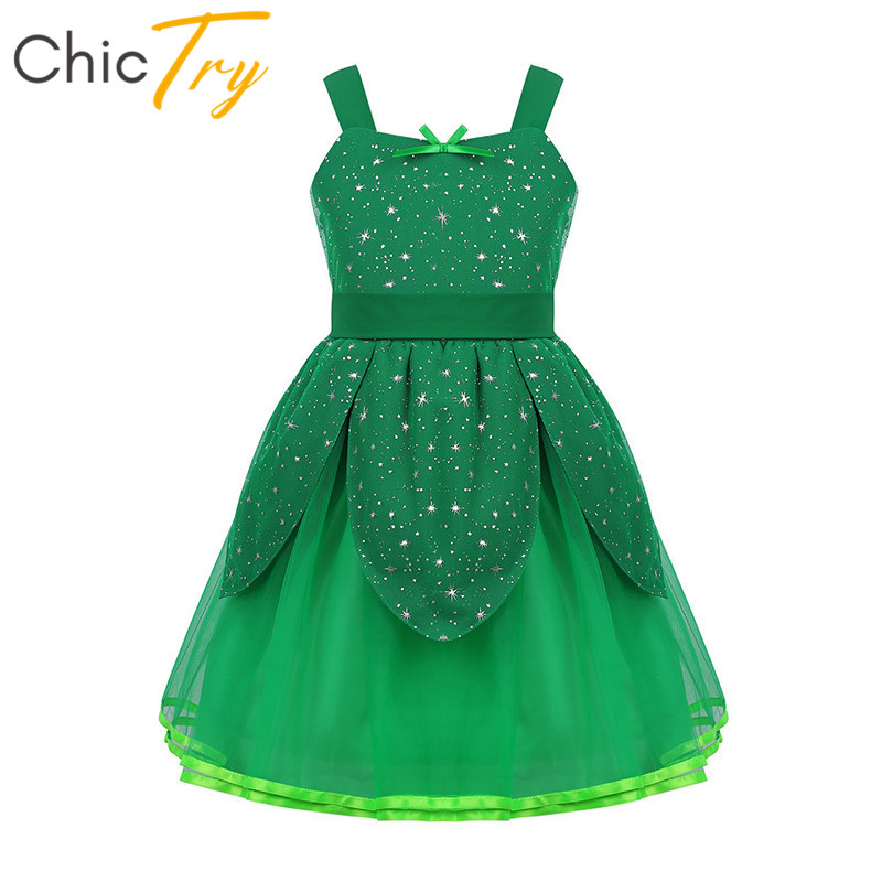 ChicTry Kids Christmas Costume Child Girls Halloween Cosplay Party Snowflake Stars Printed Fairy Tale Princess Fancy Green Dress