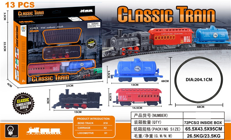 Children Harness Lights Model Classical Steam Train Series Electric Rail Car DIY Joint Educational Toy