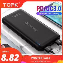 TOPK 10000mAh Power Bank 18W USB Type C External Batteries QC3.0 PD Two-way Fast Charging Powerbank for Samsung Xiaomi Huawei