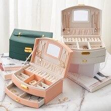 2021 new double-layer jewelry storage box large capacity drawer jewelry box Earrings Jewelry Storage Box friendship gift
