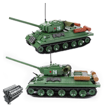 1113PCS Military T-34 Soviet Medium Tank Model Building Blocks WW2 IS-2M Heavy Tank Weapon Army Figures Bricks Toys For Children
