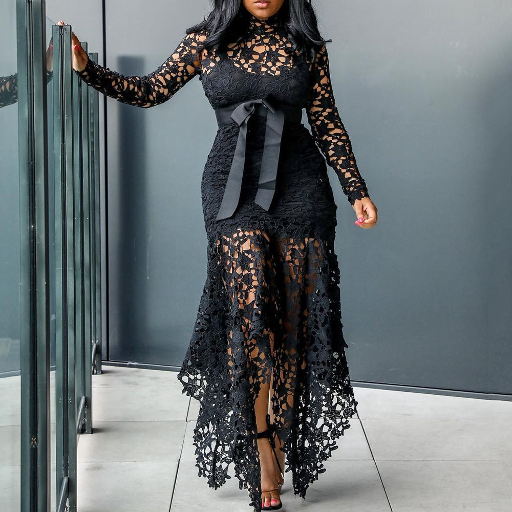 Sexy Hollow Lace Elegant Evening Party Dress Women Irregular Plus Size Long Dresses Summer Lace Up Mesh Bodycon Black Maxi Dress