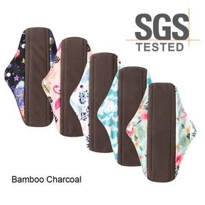Image 1 - Многоразовые гигиенические прокладки для женщин, 5 шт., многоразовые гигиенические прокладки, абсорбирующие многоразовые бамбуковые менструальные прокладки для угля, моющийся Санитарный Полотенце