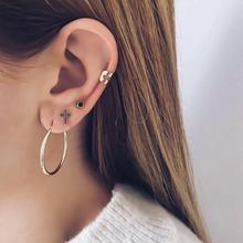 Rhinestone Cross Pendant Gold Color Earrings Set for Women Bohemia Charm Brincos Earring Fashion Trendy Jewelry