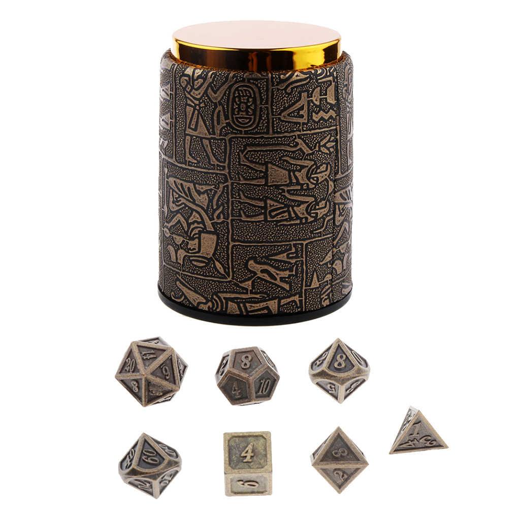 7 個 dnd サイコロセットサイコロカップ-金属多面体サイコロセットダンジョンズ & ドラゴンズ rpg ゲーム (14 ミリメートル)