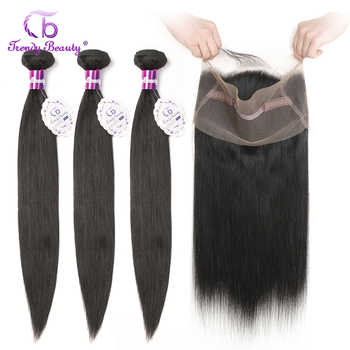 Brazilian Straight Hair 3 Bundles with 1 pcs Lace Frontal 22x4 inches 360 Frontal Natural Black Color Non-remy Trendy Beauty - DISCOUNT ITEM  62% OFF All Category