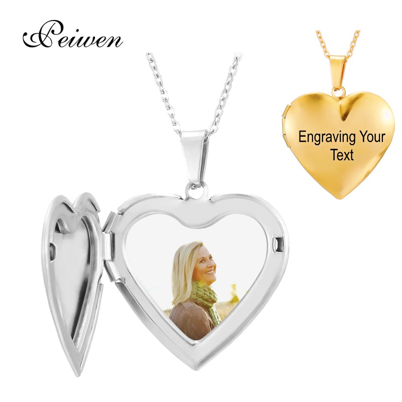 Personalized Custom Photo Name Necklace Heart Locket Engraving Name Date Stainless Steel Necklaces For Women Men Custom Jewelry