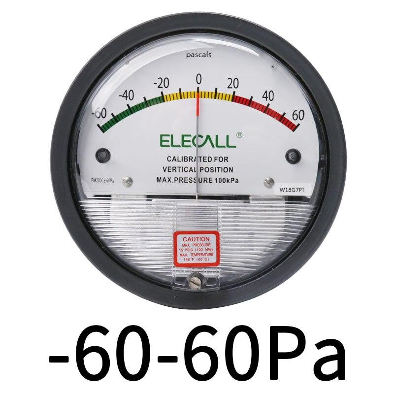 Tools : ELECAL Differential Pressure Gauge barometer micromanometer analog Manometer Pointer for air gas meters -30PA-30KPA  EM2000
