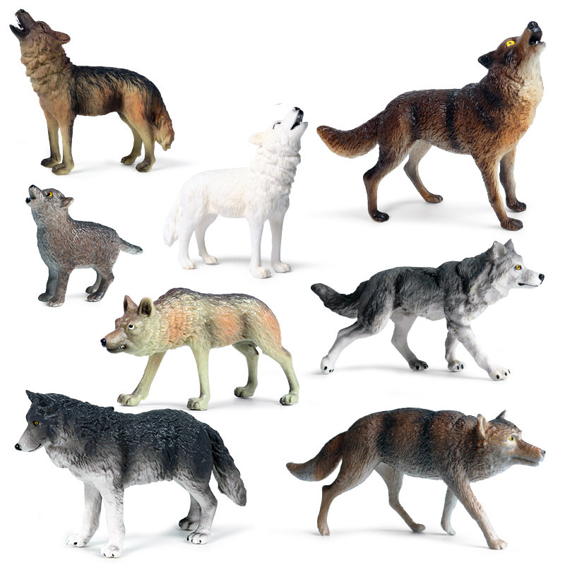 Small Size Simulation Wolf Action Figures PVC Figure Collectible Toys Wild Animal Figure Figurines Kids Cognitive Toys