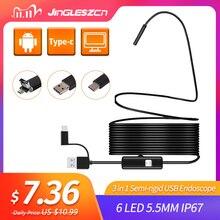 3 w 1 półsztywna kamera endoskopowa USB 5.5MM IP67 wodoodporna kamera węża z 6 diodami Led dla Windows i Macbook PC Android endoskop