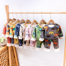 Girls Sleepwear Clothes-Sets Pyjamas Boys Fleece Baby Kids Winter Cartoon Warm Thicken