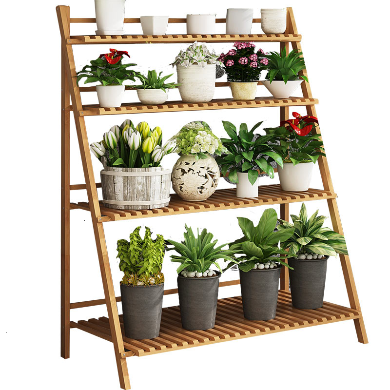 Shelf Indoor Balcony Flowerpot Frame Balcony Simplicity Solid Wood A Living Room Green Radish Meat Landing Type Multi-storey