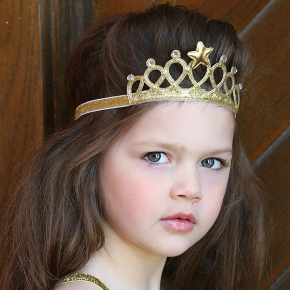 Fashion Child birthday <font><b>crown</b></font> Baby Girls <font><b>Princess</b></font> <font><b>Crown</b></font> Elastic Cloth Headband Hair Band Photo Prop image