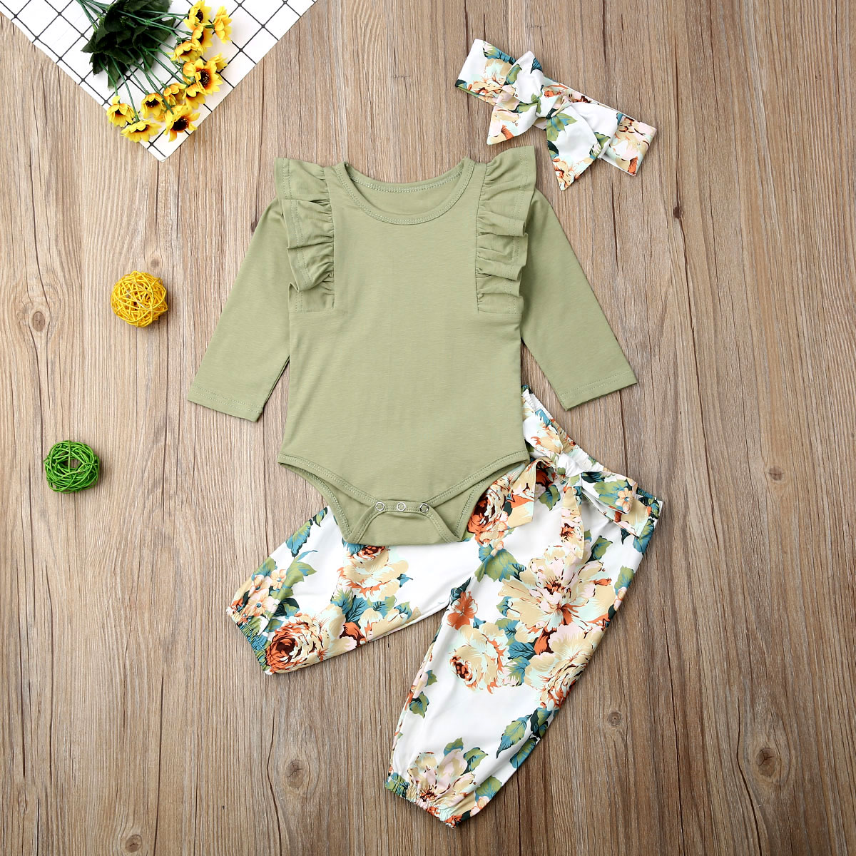 Pudcoco Newborn Baby Girl Clothes Solid Color Ruffle Long Sleeve Romper Tops Flower Print Long Pants Headband 3Pcs Outfits Set