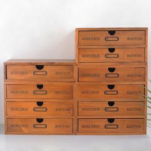 Ящик для хранения с деревянным ящиком, многоуровневый офисный ящик для стола, разделители для косметики, органайзер для хранения ювелирных ...