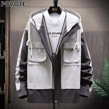 POVOTE brand men's color blocking Hooded Jacket Coat hip hop jacket Korean Trend tooling trend design
