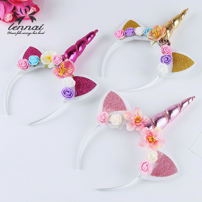 Girls Flower Cat Ears Cute Unicorn Headbands Children Headwear Photo Props Party Hair Hoop Hairbands Kids Hair Accessories New