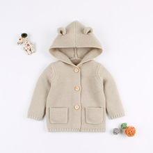 Baby Knitted Clothes Autumn Ear Hooded Coat Infant Sweater For Girls Boys Toddler Boy Cardigan Jacket