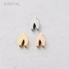 X-ROYAL 10Pcs/lot 5.5*8mm Lucky Wishbone DIY Loose Beads 1.8mm Hole Polished Stainless Steel Gold Rose Color Spacer