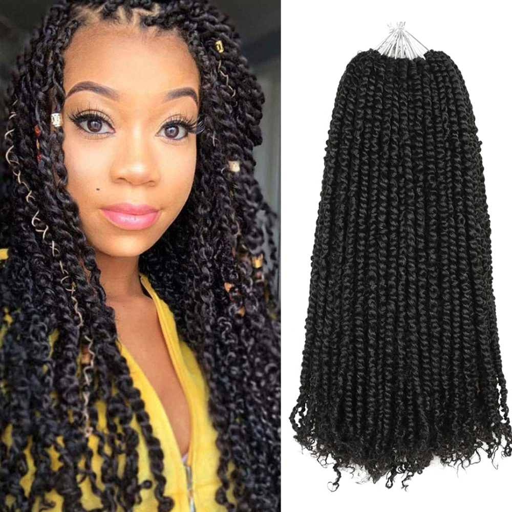 18Inch Easy Passion Twist Crochet Hair Synthetic Crochet Braid Hair Extensions Ombre Pre looped Fluffy 16strands/pack Hair Expo image