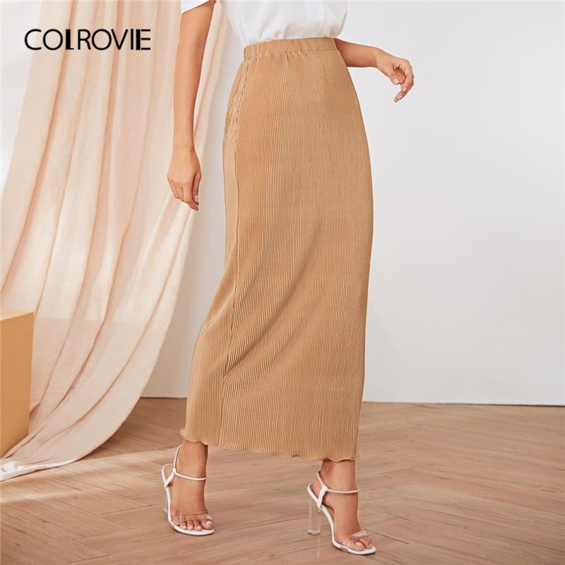 COLROVIE Khaki Rib-knit Lettuce Trim Hem Skirt Women 2019 Autumn Ladies Maxi Skirt High Waist Bodycon Elegant Solid Skirts