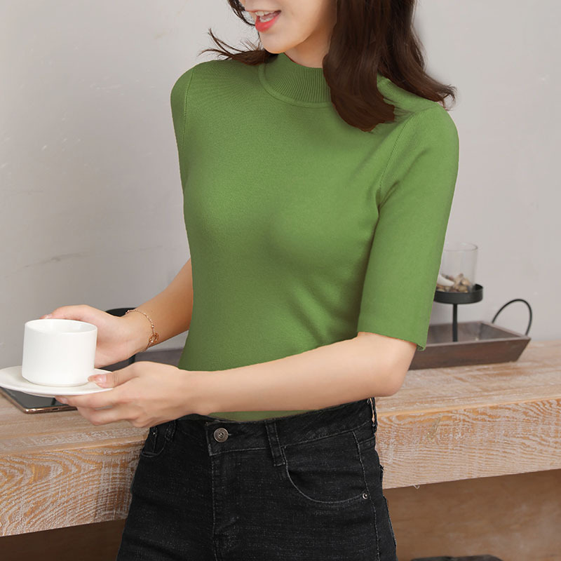 Women Short Sleeve Half Sleeve Sweater Plus Size Turtleneck Pullovers Solid Half Sweaters 2019 Winter New Flexible Knitted