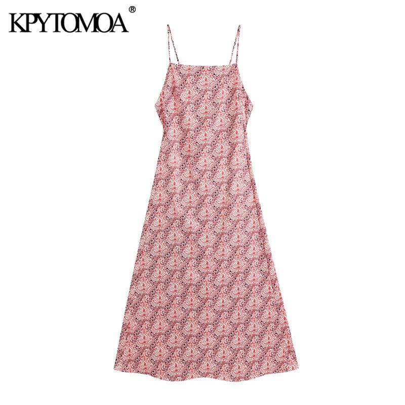 KPYTOMOA Women 2020 Chic Fashion Backless Printed Midi Dress Vintage Back Zipper Thin Straps Female Dresses Vestidos Mujer