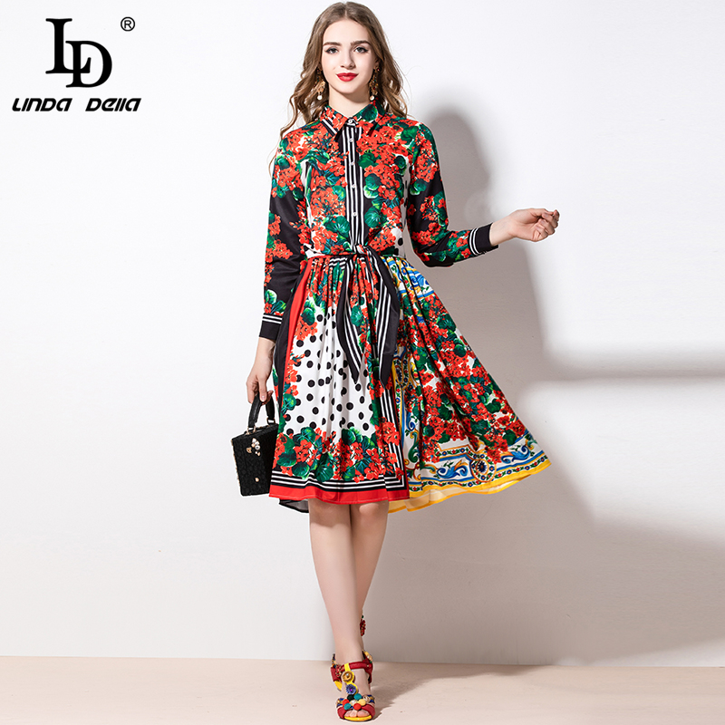 LD LINDA DELLA 2020 Spring Fashion Women's Suit Vintage Flower Floral Print Top And A-Line Midi Skirt Two Pieces Set Suits