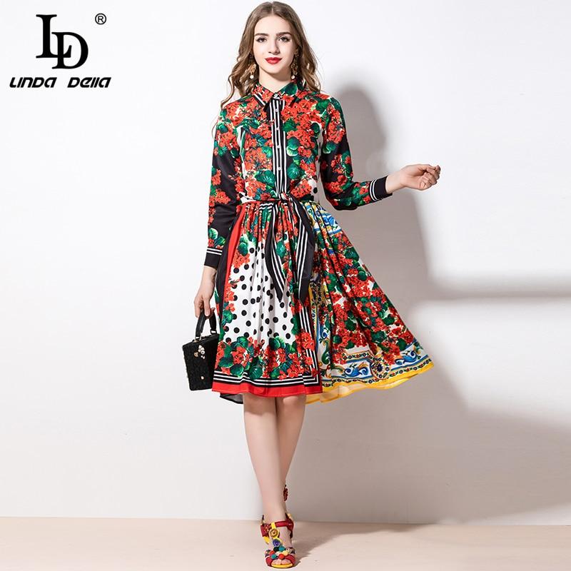 LD LINDA DELLA 2020 Spring Fashion Women's Suit Vintage Flower Floral Print Top And A-Line Midi Skirt Two Pieces Set Suits