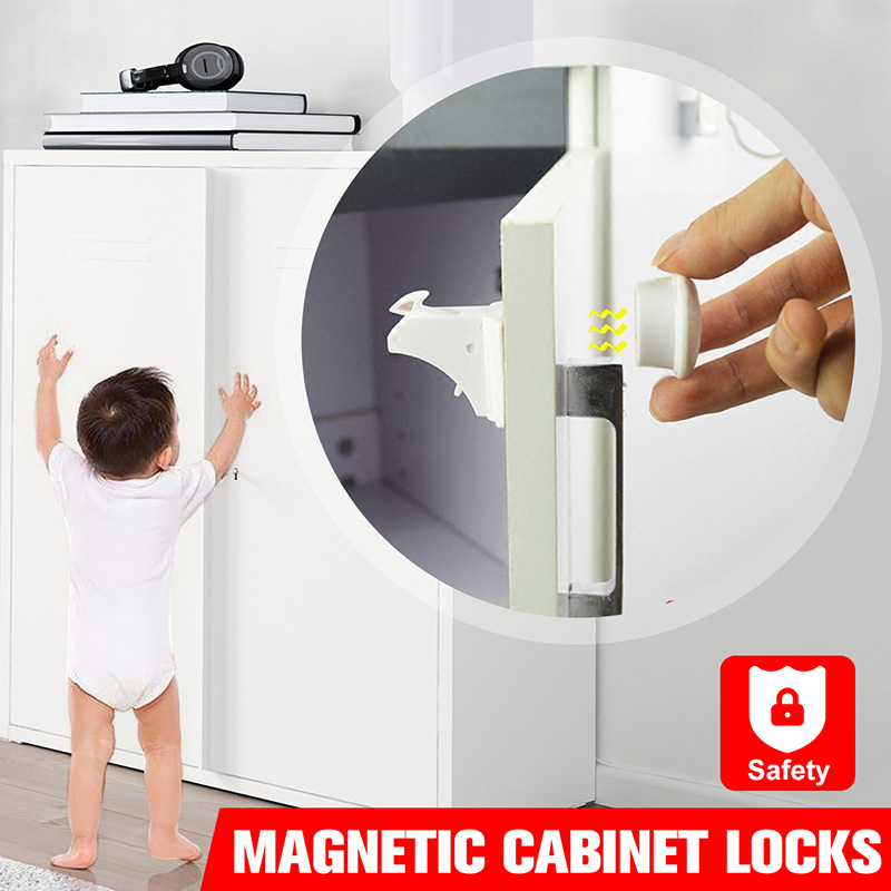 4/8/10/12 Locks+1/2/3keys Magnetic Child Lock Baby Safety Cabinet Door Lock Kids Drawer Locker Security Cupboard Invisible Locks