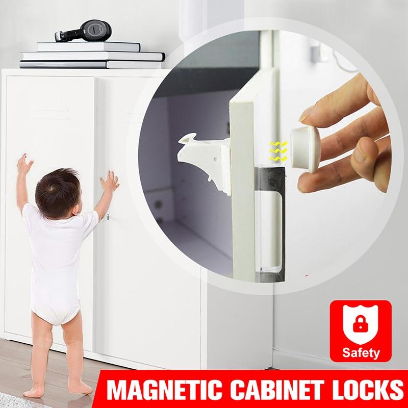 Bebé Niño Niño Cajón del gabinete de seguridad Cerradura Magnética-Cerraduras de 4 1 Llave