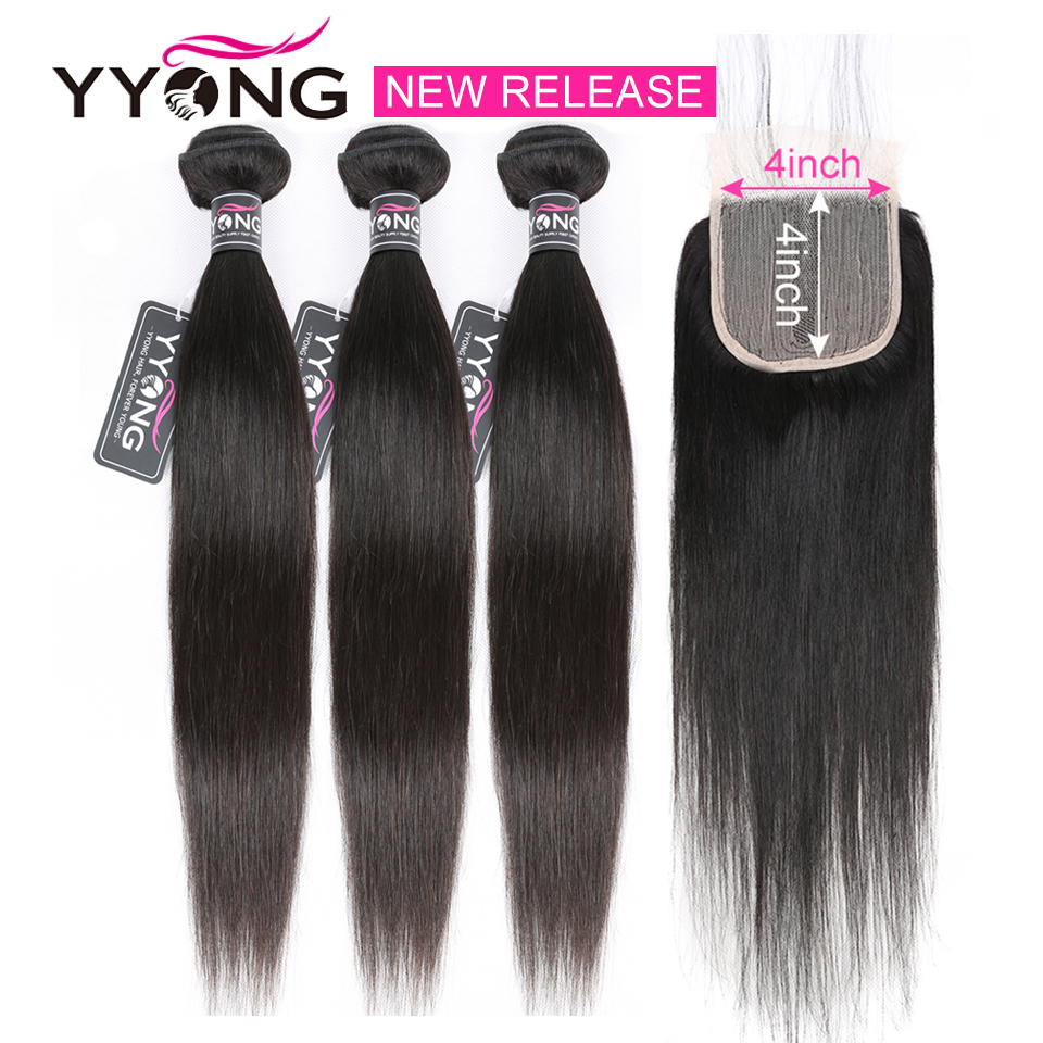 Newest  Straight Bundles With Closure Half Handtied T 4X1 Lace Closure With Bundles Natural  Bundle With Closure 1