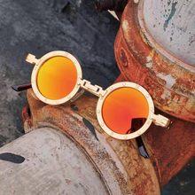 Lunettes de soleil rondes pour hommes et femmes, Steampunk, style gothique, Orange, rouge, à la mode, Punk, rondes, nouvelle collection 2020