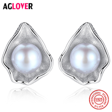 AGLOVER 925 Solid Silver Earring Shell Stud Earrings Genuine Natural Freshwater Pearl Earring Pearl Fashion Jewelry Women Gift