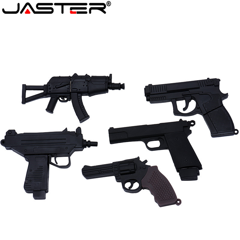 JASTER Cartoon 100% Real Pacacity 5 Model Gun Usb Flash Drive Usb 2.0 4GB 8GB 16GB 32GB Pendrive 64GB Usb2.0