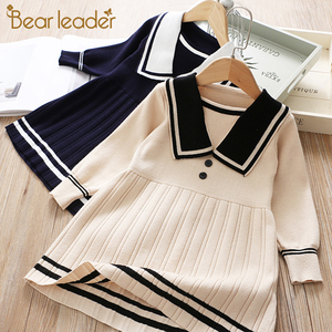 Bear Leader Children Girls Knit Dress College Style Baby Girl Autumn Long Sleeve Dresses Kids Winter Solid Clothing 2-7 Years(China)