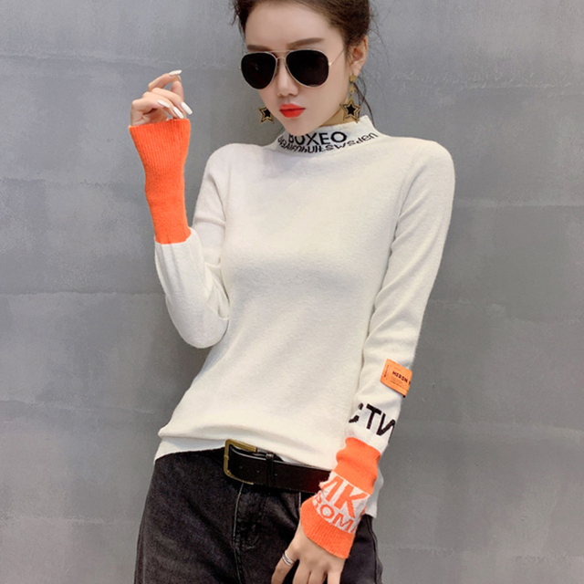 #3828 White Black Harajuku Woman Sweater Pullovers Long Sleeve Letter Tight Sweater Turtleneck Thin Knitted Tops Spring Autumn 4
