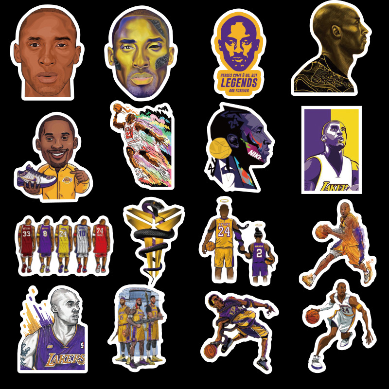 50PCS Basketball Star Stickers DIY Memorial Black Mamba Basketball Athlete PVC Waterproof Sticker