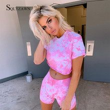 Hot Sale Tie Dye Sporty Biker Shorts 2 Piece Set Summer Women Short Sleeve Crop