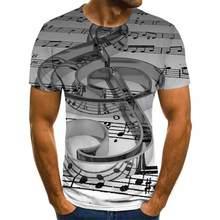 2020 verão música e instrumentos de arte 3d impresso moda camiseta unisex hip-hop estilo camiseta rua casual verão