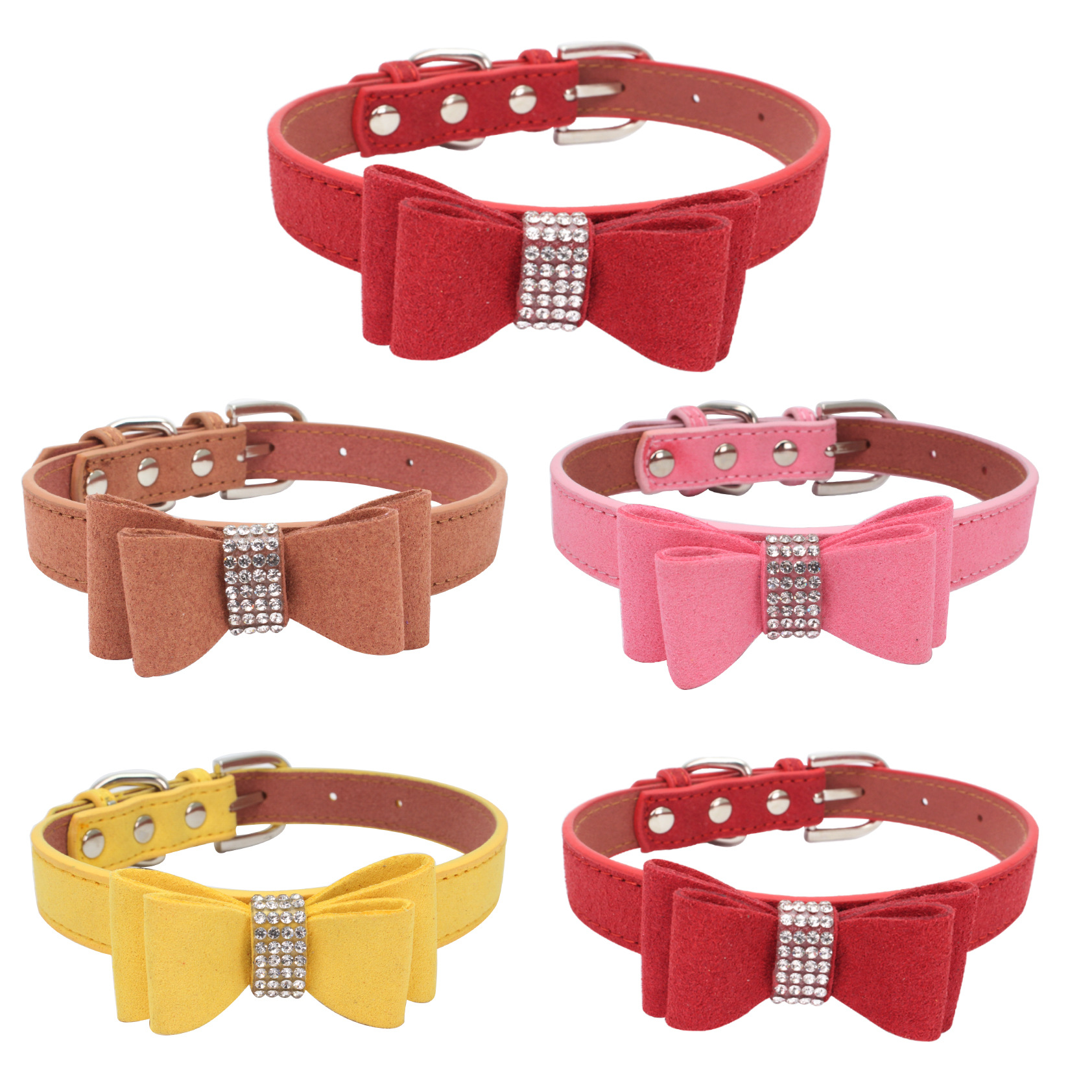 Jin Ling Jie Man-made Diamond Dog Neck Ring Double Layer Bow Pet Collar Microfiber Soft And Comfortable Large Amount Preferentia