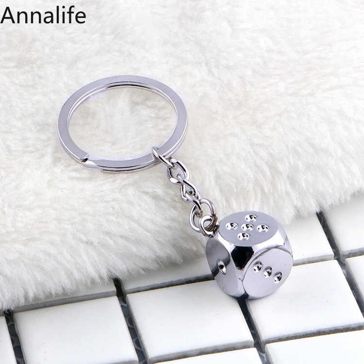 2019 New 3D Metal Dice-shape-Keyfob Keyring Keychain Key Chain Ring Men or Women Key Holder Key Cover Auto Keyring Gifts